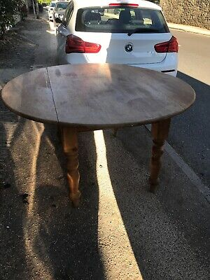 Quality Large Antique Pine Round Kitchen Dining Table Drop Leaf Seats 8