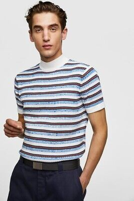 b783cce4 NWT ZARA MAN WHITE STRIPED SHORT SLEEVE SWEATER High Neck Ribbed Trims Size  L
