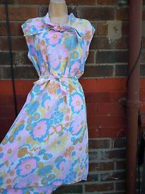 Vintage 60s Floral pink Cotton Shift Dress 18 20 belt high neck scooter mod Gogo