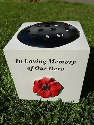 Poppy Grave Ornament Remembrance Day Rose Bowl Our Hero Dad Grandad Husband