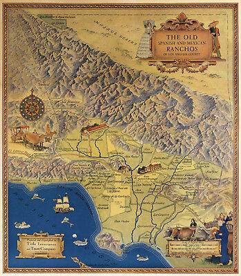 1937 Map of Spanish Mexican Ranchos Los Angeles County Poster Vintage History