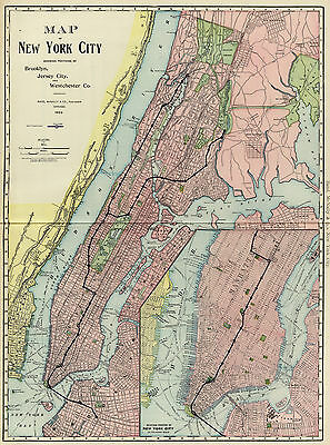 1903 Map New York City Railroad Subway Wall Art Poster Print Vintage History