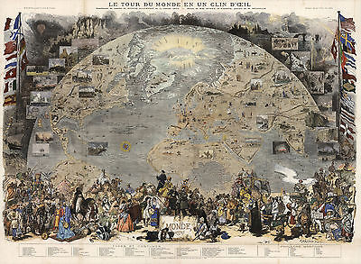 Pictorial 1876 Map View of the World Poster Le Tour du Monde en un Clin d'Oeil