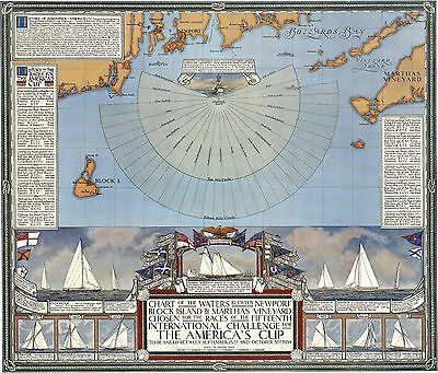 1934 Map 15th International Challenge America's Cup Sailing Gifts Wall Poster