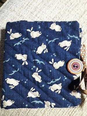 Quilted Handmade Needle Book Japanese Rabbits Navy Blue Fabric brown button