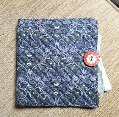 Quilted Handmade Needle Book Blue William Morris Fabric wooden red button
