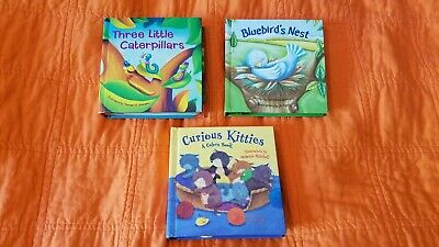 Board Books With Added Yarn on Each Page Plus Pop Up At End Lot 3 Very Cute