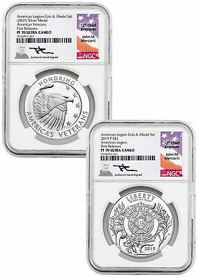 2PC American Legion Silver Dollar&Medal NGC PF70 UC FR Mercanti Label SKU58214