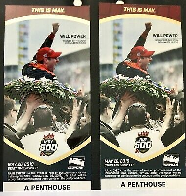 (2) 2019 Indianapolis Indy 500 Tickets A Penthouse, Box 1, Row F. Amazing views!