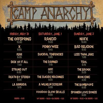 Camp Anarchy 3 Day Festival Thornville, Ohio  4 Passes
