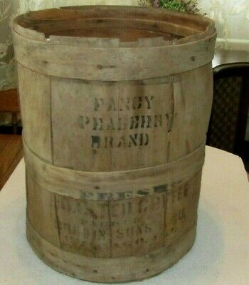 RARE Antique Vintage Wood Advertising Barrel General Store Peaberry Brand Coffee