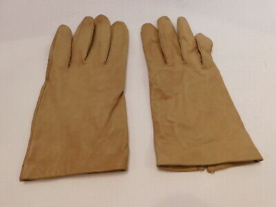 Grandoe Ladies Tan Soft Leather Gloves Silk Lining Size 8