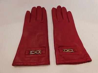 Grandoe Ladies Red Soft Leather Winter Gloves Acrylic Knit Lining Size Medium