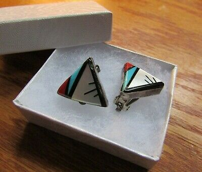 Unsigned Old Pawn Zuni Inlaid Triangular Turquoise, Coral, Onyx Clip-on Earrings