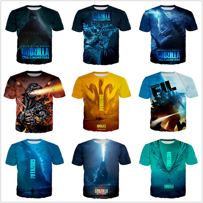 3f656ce8e Plus Size Women Men T-Shirt 3D Print Movie Godzilla King Tee Many New Style