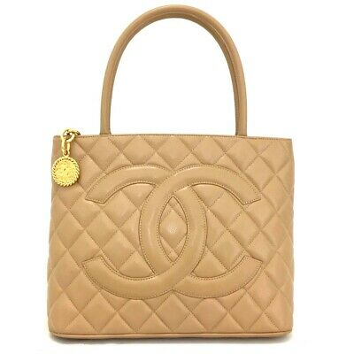 b301f2c13e73 CHANEL Classic Gold Medallion CC Logo Quilted Beige Caviar Skin Tote Bag/  oDCE x