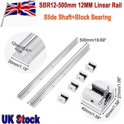 2Pcs 12mm Fully Supported Linear Rail Shaft+4x SBR12UU Bearing Slide Blocks