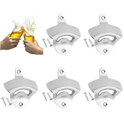 5Pcs NEW Stainless Steel Silver Wall Mount Beer Soda Bottle Opener with Screws