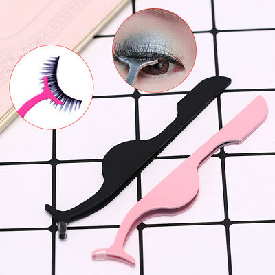 Stainless Steel Eyelashes Extension Tweezers Auxiliary Clamp Clip Eye LashSC