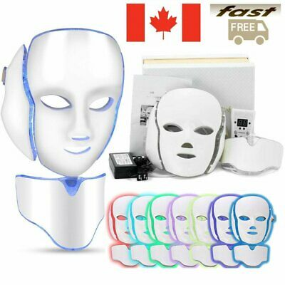 7 Color Lights LED Photon Therapy Mask Face Mask Neck Skin Therapy Wrinkles CA
