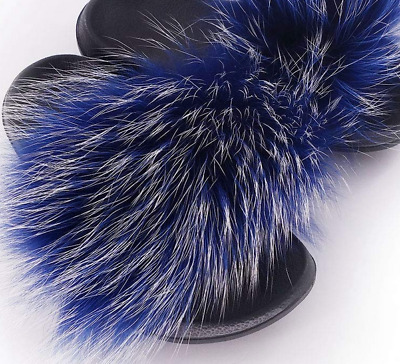 Blue white Frost Real Raccoon Fur Slipper Sandal Shoes Indoor Outdoor slides