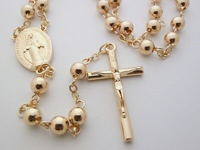 Gold Plated Rosary Beads Long Necklace Cross FREE Booklet Catholic Baptism Gift