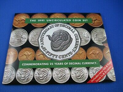 1991 Australian RAM UNC 8 COIN SET. 25th Anniversary of Decimal Currency 50c.