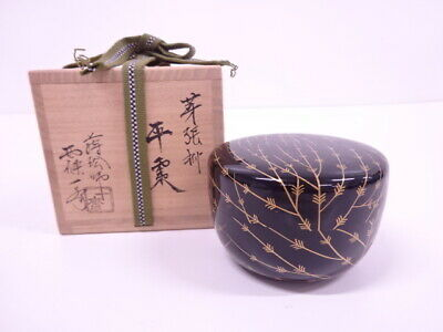 4173787: Japanese Tea Ceremony / Lacquered Tea Caddy Gold Willow Natsume