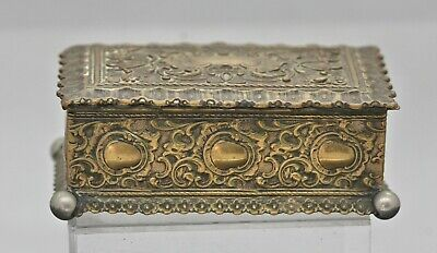 Beautiful Antique English Heavily Gilded Trinket Box Victorian Period
