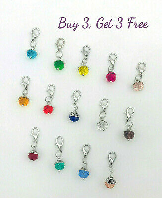 Buy 3 Get 3 Free! Clip on dangle charms - lobster clasp for bracelet, birthstone