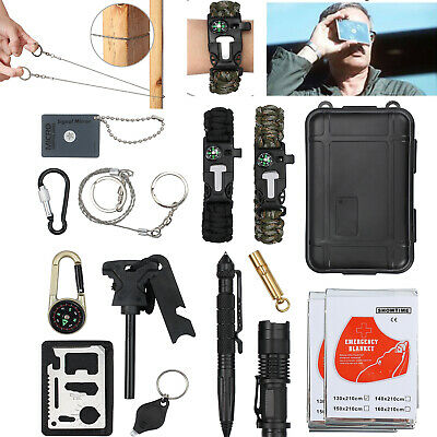 16 in 1 Outdoor Camping Emergency Survival Gear Kits Tactical SOS Self Defense