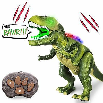 Dinosaur RC Remote Control Toys Light Up Green or Brown Tyrannosaurus Rex Gifts