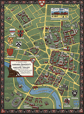 "1935 Harvard University Radcliffe College Pictorial Map Cambridge 11""x15"" Poster"