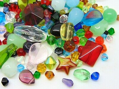 100g Mixed Colour & Shape Glass Bead Mix 4mm - 8mm Round Bicone Teardrop E194