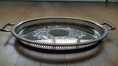 Large Silver Plate Galleried Edge Tray With Chased Design (49cms)
