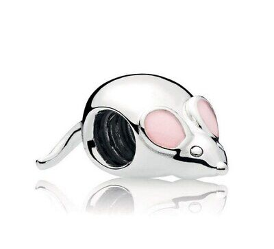 925 Sterling Silver Cute Mouse Charm Pink Enamel Bead Fit European Bracelet