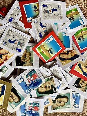 Superb 200 Unfranked Second 2nd Class Christmas Stamps GB Kiloware Face £122