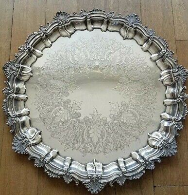 Good Heavy English Antique Art Nouveau Chased Silver Plated Serving/Drinks Tray