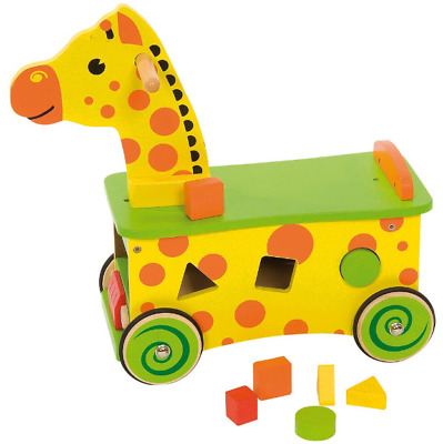 Bigjigs Toys Wooden Giraffe Ride On and Shape Sorter Sturdy Wheels Age 1+ years