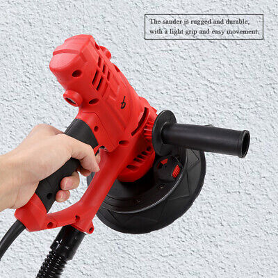 Red 800W Drywall Sander Automatic Vacuum System Gyprock Wall Plaster Dust LED