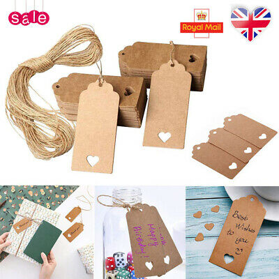 50/100 Kraft Paper Gift Tags Scallop Label Luggage Wedding Gift Tags+Strings UK