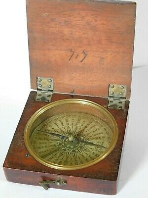 ANTIQUE - ( Not reproduction ) WOODEN CASED COMPASS