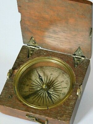 b/ ANTIQUE - ( Not reproduction ) WOODEN CASED COMPASS