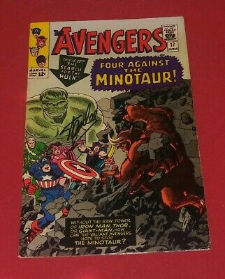 Avengers #17 VF 8.0 SIGNED STAN LEE AND JACK KIRBY! MINOTAUR COVER KEY! L@@K!