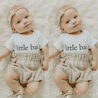 Newborn Infant Baby Boy Girl Letter Romper Tops Shorts Set 2PCS Outfits Clothes