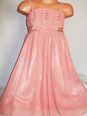 Girls Peach Satin Sparkling Sequin Floaty Chiffon Princess Prom Party Dress