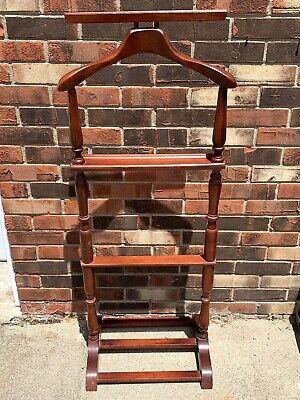 "Vintage Mens Wood Valet Butler Suit Rack Antique Clothes Stand MCM 47"" Tall"