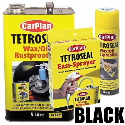 Carplan Wax/Oil Rustproof Protector BLACK 5Ltr + Easi Spray Gun + 500ml Aerosol