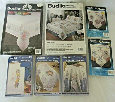 Bucilla Cross Stitch Stamped Quilt Blocks Table Topper Pillowcase Rose Choice