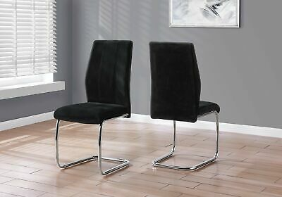 "Monarch Specialties I 1067 Dining Chair 2Pcs 39""H Black Velvet Chrome"